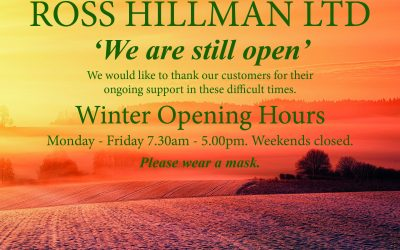 We are still open – Winter Opening Hours 2020